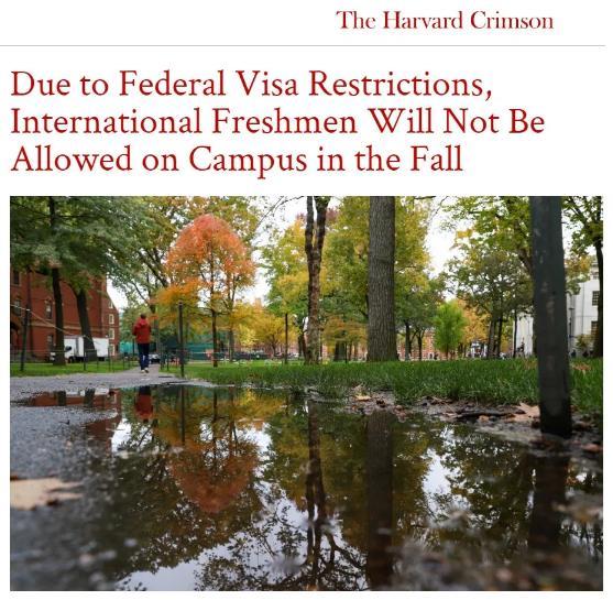 哈佛大学官宣今年秋季国际新生将无法赴美就读!