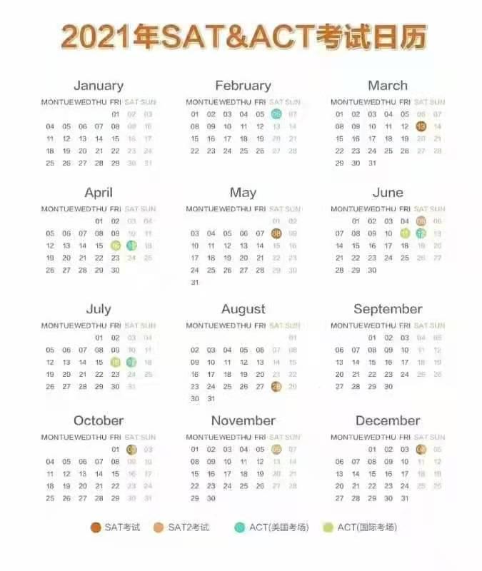 2021年SAT和ACT考试时间表